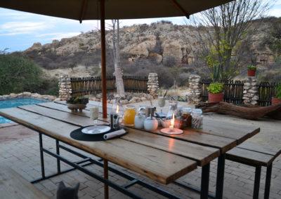Colazione Sasa safari camp - Diario di viaggio in Namibia